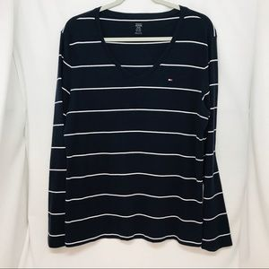Tommy Hilfiger Plus Size Long Sleeve v-neck Navy